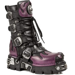 New Rock M.591-S3 Purple Flame Metallic Black Leather Biker Goth Boots