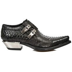 New Rock M.7934-S2 Metallic Black Leather Buckle West Steel Heel Shoes