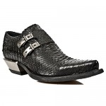 New Rock M.7934-S2 Metallic Black Leather Buckle West Steel Heel Shoes, DALLAS, New Rock M.7934-S2, ,