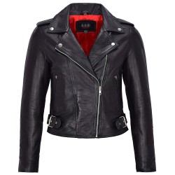 Ladies Real Leather Brando Biker Style Fitted Jacket Short Length Black with Red Lining MB 130