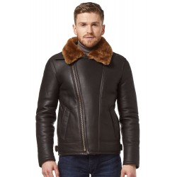 Men Brown/Ginger Fur Shearling Sheepskin WW2 Fur Leather Flying Aviator Jacke NV-49