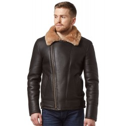 Men Real Sheepskin Jacket Brown/Beige Fur Shearling WW2 Fur Leather Flying Aviator NV-49
