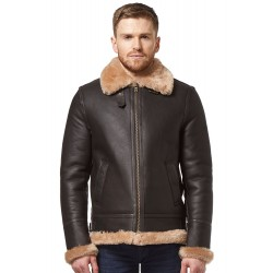 Men Real Sheepskin Leather Jacket Brown Beige Shearling Fur B3 World War 2 Flying Aviator Biker