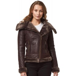 Ladies Real Sheepskin Jacket Shearling Fur Short Fitted Brown Biker Stylish NV 43