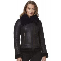 Ladies Real Sheepskin Jacket Shearling Fur Short Fitted Black Biker Fashion Stylish NV43