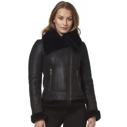 Ladies Real Sheepskin Jacket Shearling Fur Short Fitted Black Biker Fashion Stylish NV 89