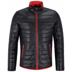 Camilo Men Real Leather Jacket Black Quilted With Red Trimming Biker Motorcycle Puffer Coat 4141