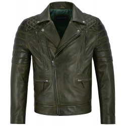 Matt Lauer Men Real Leather Jacket Olive Green Slim Fit Biker Motorcycle Fashion Style 3205