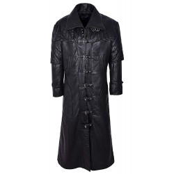 Men's CAPTAIN Black FULL-LENGTH Van Helsing Duster Nappa Leather Jacket Coat