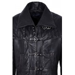 Men s CAPTAIN Black FULL-LENGTH Van Helsing Duster Nappa Leather Jacket Coat, Full Length Coats, Captian FL Black, ,