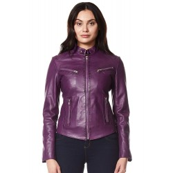 Speed' Ladies Real Leather Jacket Purple Retro Fitted Motorcycle Biker Style SR-01