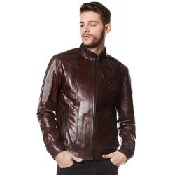 """George Clooney"" Brown Real Leather Jacket Biker Style Casual Napa 1802"