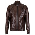"""George Clooney"" Brown Real Leather Jacket Biker Style Casual Napa 1802, Short Jackets, 1802 Brown, ,"