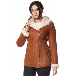 Ladies Real Leather Shearling Sheepskin Jacket Short Fitted Chestnut Biker Style NV-39