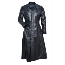 Men's NEO Black FULL-LENGTH Matrix Style Real Nappa Leather Jacket Coat