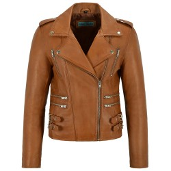 Mystique Ladies Tan Vintage WASH & Wax Biker Motorcycle Designer Leather Jacket 7113