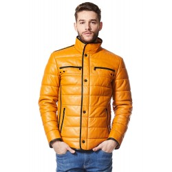 Cage Mens Yellow Quilted Real Leather with Black Trimming Biker Lambskin Jacket