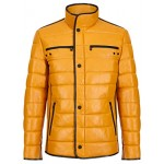 Cage Mens Yellow Quilted Real Leather with Black Trimming Biker Lambskin Jacket, Short Jackets, Cage Yellow, ,