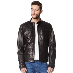 Men's Real Leather Jacket Black New Fashion Designer Biker Motorcycle Style 233
