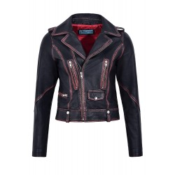 Women's New Fashion Arrival Leather Jacket Black Rub Off Wax Biker Style 4569