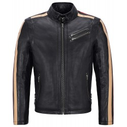 Men Leather Jacket Black with Beige & Red Stripes Biker Motorcycle Style 1831