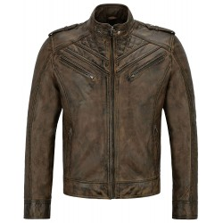 Men's Real Leather Jacket Dirty Brown Quilted Design Biker Motorcycle Style 2414