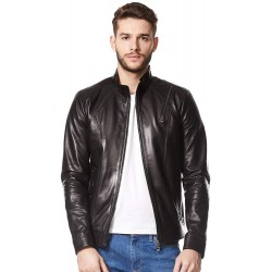 Men's Real Leather Jacket Black Casual Napa Biker Motorcycle Style 1802