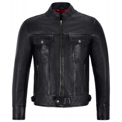 Men's Real Leather Jackets Black Biker Classic Lambskin Motorcycle Style 1345