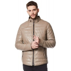Men's Real Leather Jacket Modern Quilted Design Stone Beige Napa Italian Fashion Icon Coat VN89