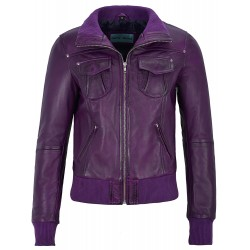 Ladies Real Leather Jacket Purple Bomber Biker Motorcycle Style 3758
