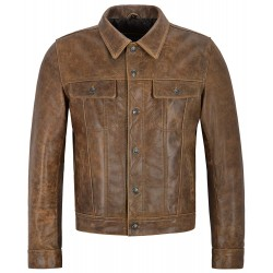Trucker Men's Real Leather Jacket Vintage Brown Hide Classic Western Style 1280