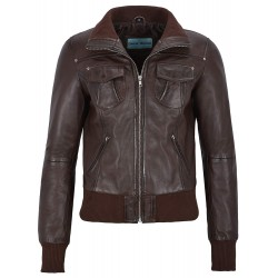 Fusion' Ladies Brown Washed Short Bomber Biker Motorcycle Style Leather Jacket 3758