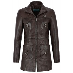 Mistress' Ladies Leather Jacket Brown Gothic Style Fitted Mid Length Coat 1310