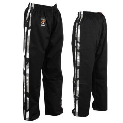 Martial Arts Full Contact 100% Cotton Black With 2 Camo Stripes Trouser