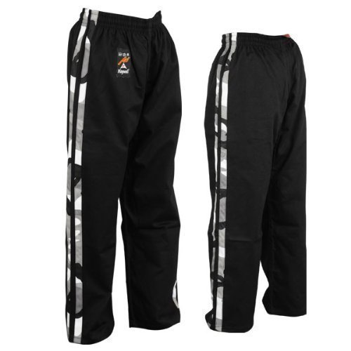 Martial Arts Full Contact 100 Cotton Black With 2 Camo Stripes Trouser, Martial Arts, Camo Stripes Trouser, ,