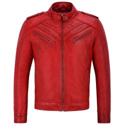 Men's Real Leather Jacket Red Quilted Design Biker Motorcycle Style 2414