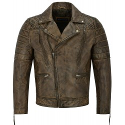 Men Real Leather Jacket Dirty Brown Napa New Fashion Biker Motorcycle Style 3205