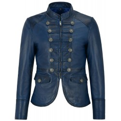 Ladies Leather Jacket Blue Victory Military Parade Style Real Soft Lambskin 8976