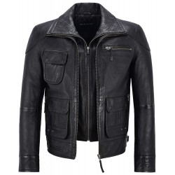 Men's Biker Leather Jacket Black Double Layered Collar & Zip Real Leather M-139