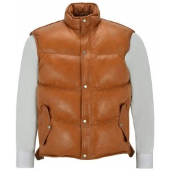 Men's Puffer Leather Waistcoat Tan Padded Lambskin Leather Casual Vest Style