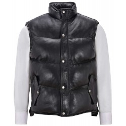 Men's Puffer Leather Waistcoat Black Padded Lambskin Leather Casual Vest Style