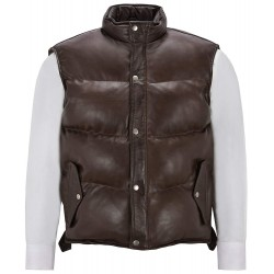 Men's Puffer Leather Waistcoat Brown Padded Lambskin Leather Casual Vest Style