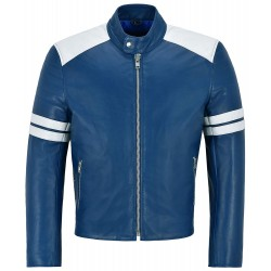 Men's Mayhem Real Leather Jacket Blue with White Stripe Biker Motorcycle Style