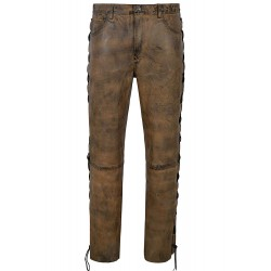 Men's Biker Leather Trouser Dirty Brown Laced Motorcycle Style 100% Napa 00126