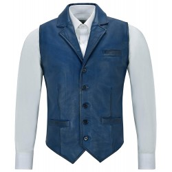 Men Real Leather Waistcoat Blue Napa Party Fashion Casual Business Vest 1349