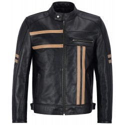 Men's Leather Jacket Black with Beige Strips Biker Motorcycle Style 100% Real Cowhide 3843