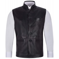 Men's Leather Waistcoat Black Mandarin Collar Indian Ethnic Vest Real Napa 3946