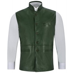 Men's Leather Waistcoat Green Mandarin Collar Indian Ethnic Vest Real Napa 3946