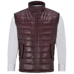 Men's Burgundy Stand up Collar Quilted Waistcoat Lamb Leather Gillet Vest 4330