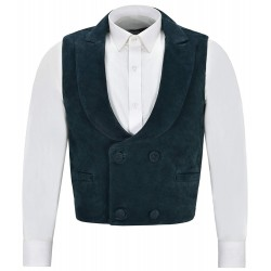 'Edwardian' Suede Leather Waistcoat Navy Double Breasted Real Leather 3281